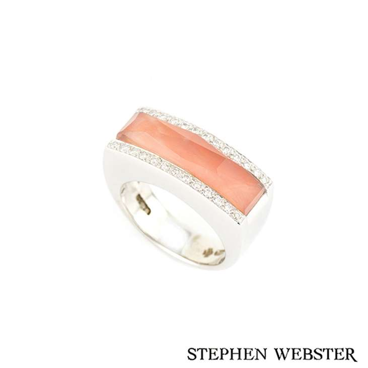 Stephen Webster 18k White Gold Crystal Haze Coral and Diamond Ring